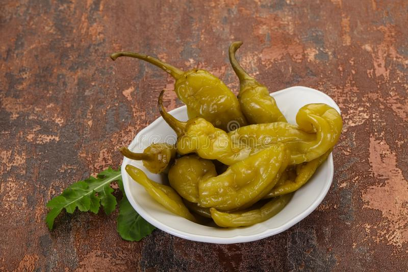 Pickled green pepper royalty free stock photo