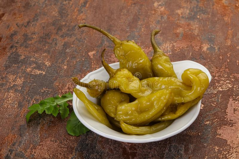 Pickled green pepper stock photos