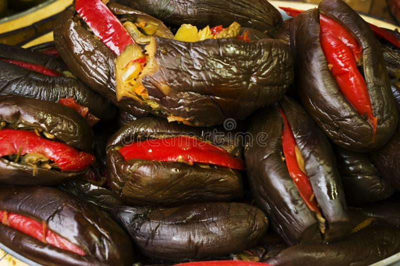 Pickled stuffed eggplant with vegetables stock image