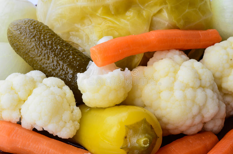Pickled vegetables. Close up view of mixed pickled vegetables, full frame royalty free stock image