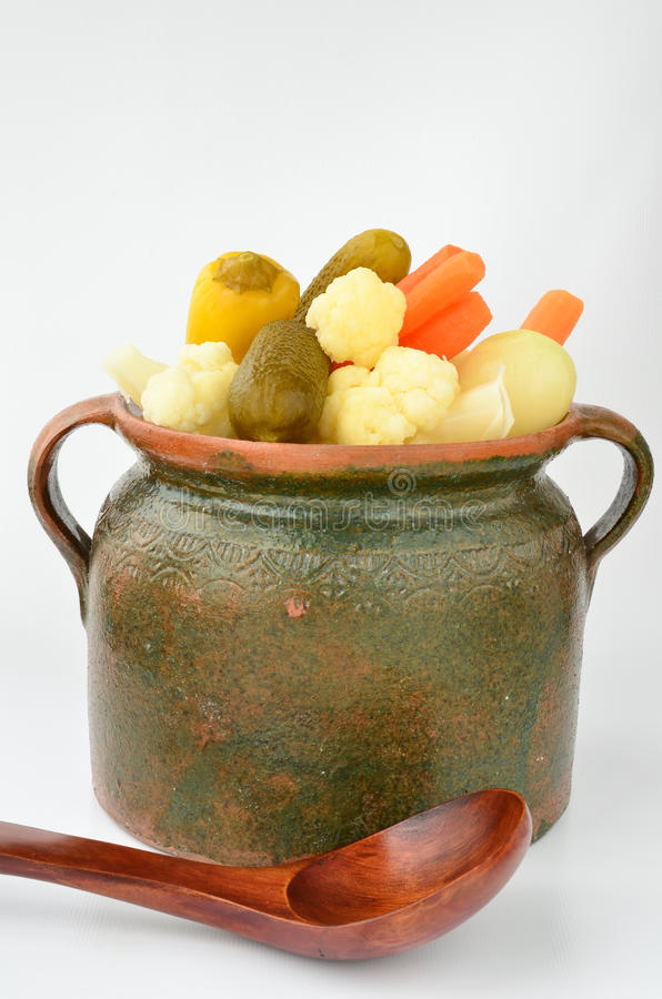 Free Pickled Vegetables In A Clay Pot Stock Images - 36245604