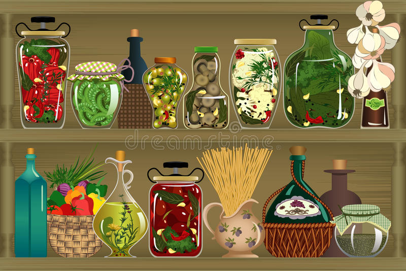Pickles. Store of homemade canned vegetables - vector illustration