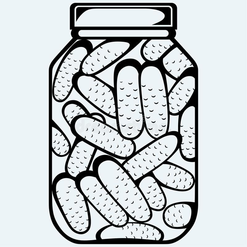 Pickles bank. Preserved cucumbers in a jar vector illustration