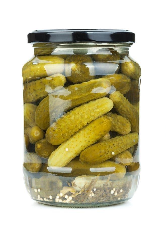 Pickles in glass jar stock image