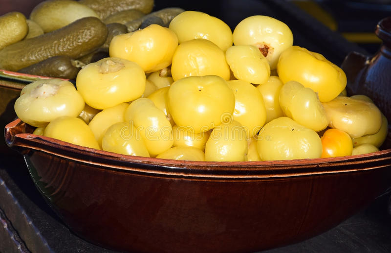 Pickles in a pot royalty free stock photography