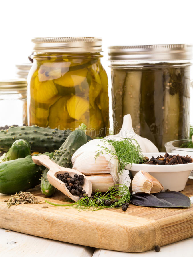 Pickling. Ingredients, spices, fresh and dried for the pickling process stock photos