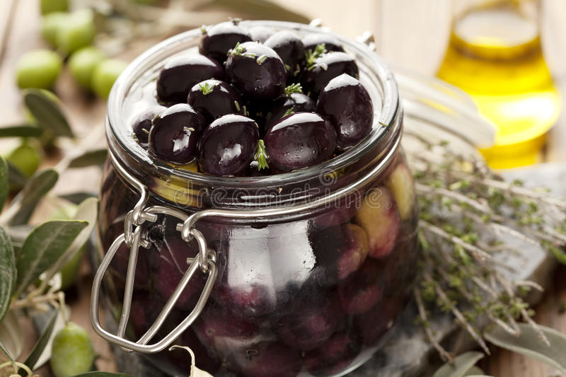 Pickling olives royalty free stock image