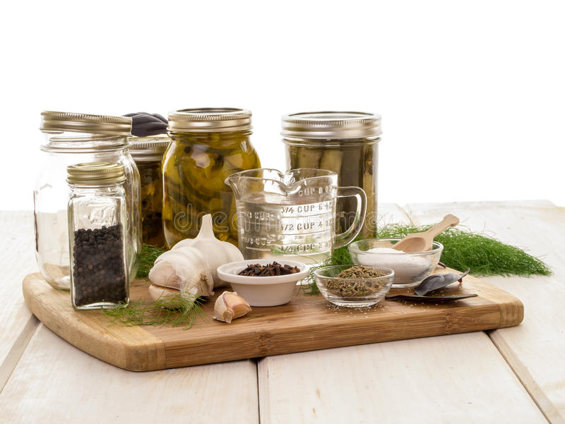 Pickling Preservation. Ingredients, spices, fresh and dried for the pickling process stock image