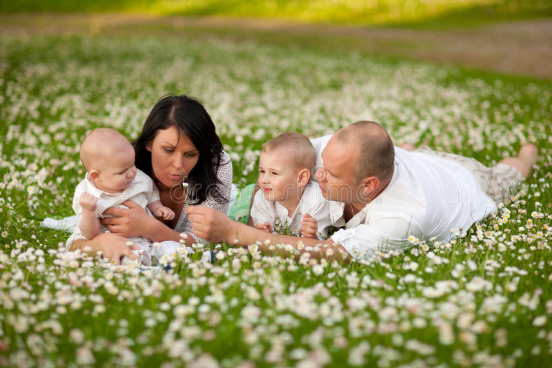Picknic familie stock foto's