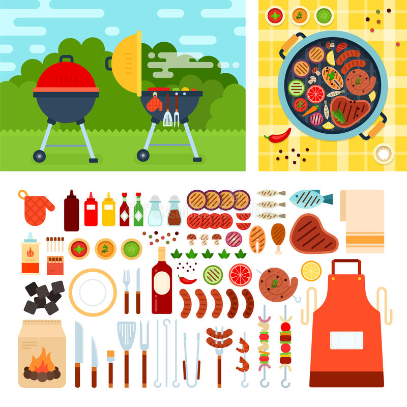 Picknic with grill on summer day stock illustration