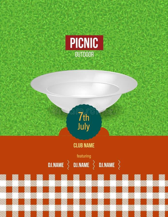 Picknick auf Frischluft Sommereinladung, Plakatschablone, Flieger vektor abbildung
