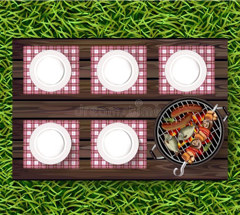 Picknick bbq-Vektor realistisch Draufsichtplatten auf grünem Gras und Würsten auf dem Grill vektor abbildung