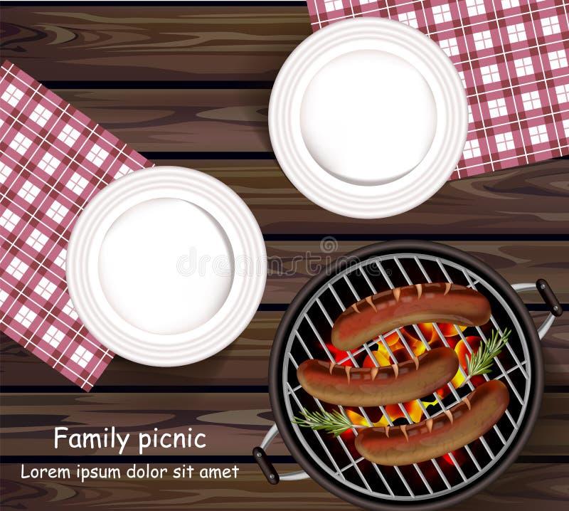Picknick bbq-Vektor realistisch Draufsichtplatten Holztisch und Würste auf dem Grill draußen vektor abbildung