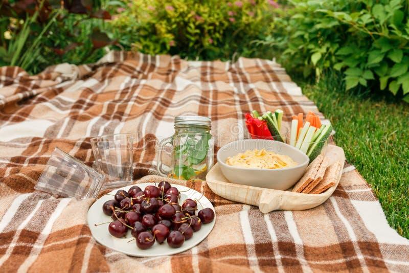 Picknick buiten in het Park op de gras rieten doos, geruite pl stock foto's
