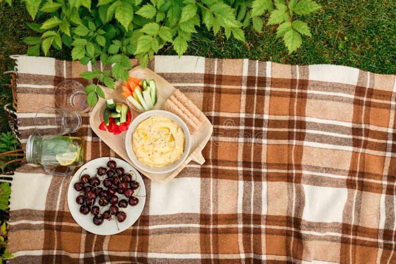Picknick buiten in het Park op de gras rieten doos, geruite pl stock foto
