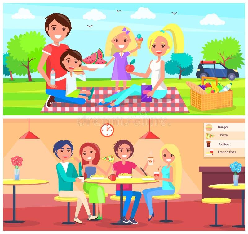 Picknick-Café-Plakat-glückliche Familie haben Spaß zusammen stock abbildung