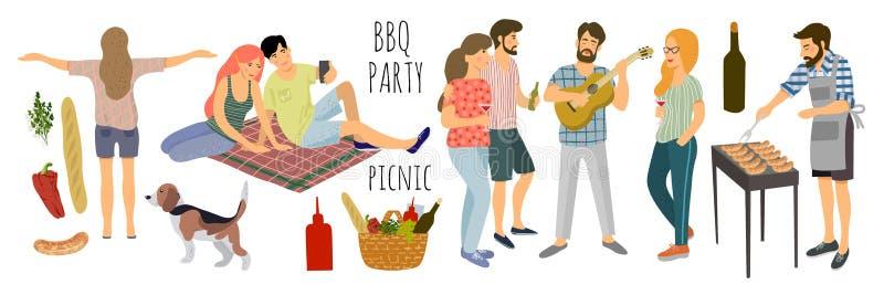 picknick Den gulliga vektorillustrationen av isolerat mans och kvinnan som vilar p? naturen p? en vit bakgrund Teckning vid handa royaltyfri illustrationer