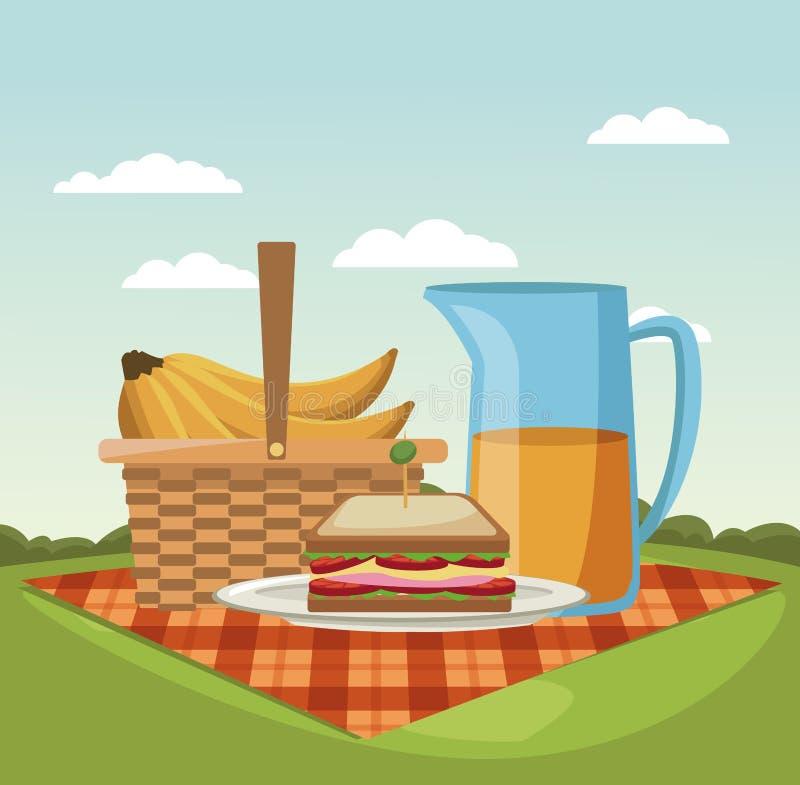 Picknick in den Parkkarikaturen vektor abbildung
