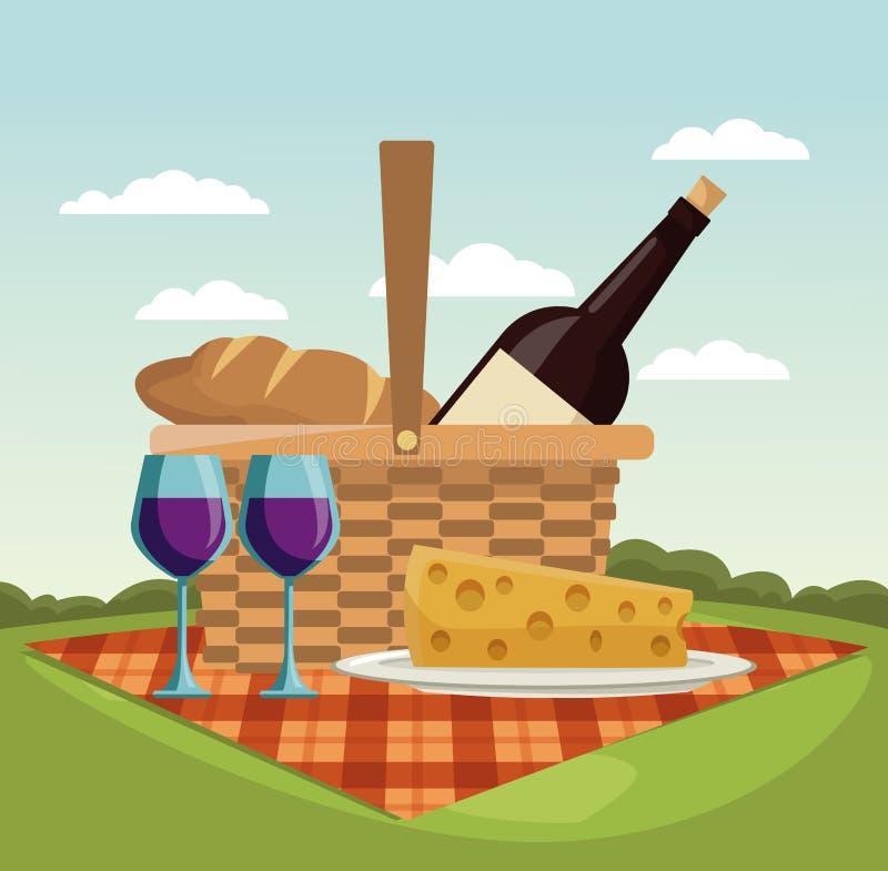 Picknick in den Parkkarikaturen stock abbildung