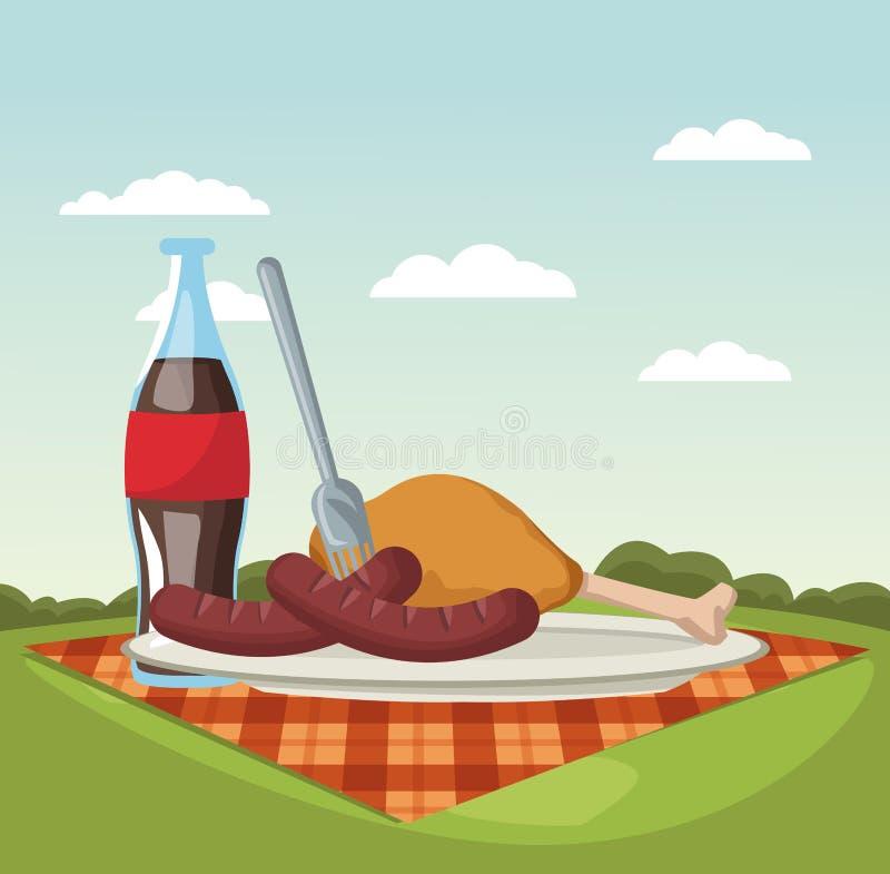 Picknick in den Parkkarikaturen lizenzfreie abbildung