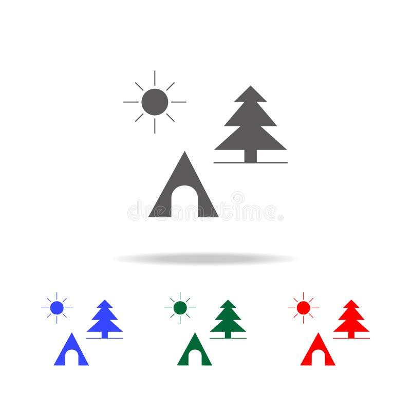 Picknick in der Waldikone Elemente in den multi farbigen Ikonen für bewegliche Konzept und Netz apps Ikonen für Website Design un vektor abbildung