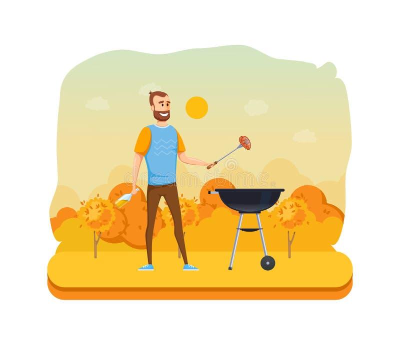Picknick des Herbstes im Freien im Park Mangal mit Grill, Kohlen, Würzen lizenzfreie abbildung