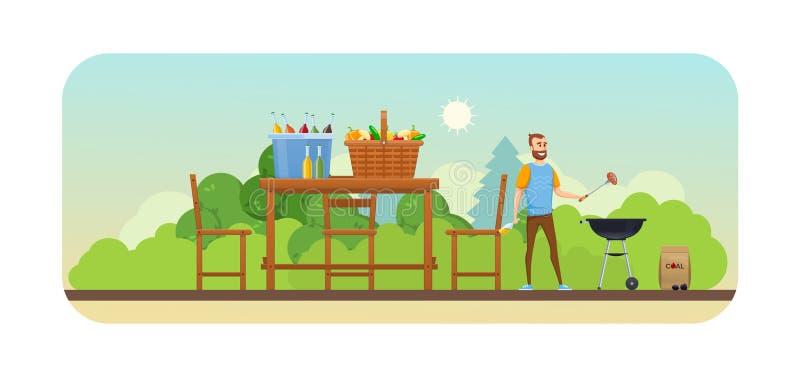 Picknick des Sommers im Freien im Park Mangal mit Grill, Kohlen, Würzen vektor abbildung
