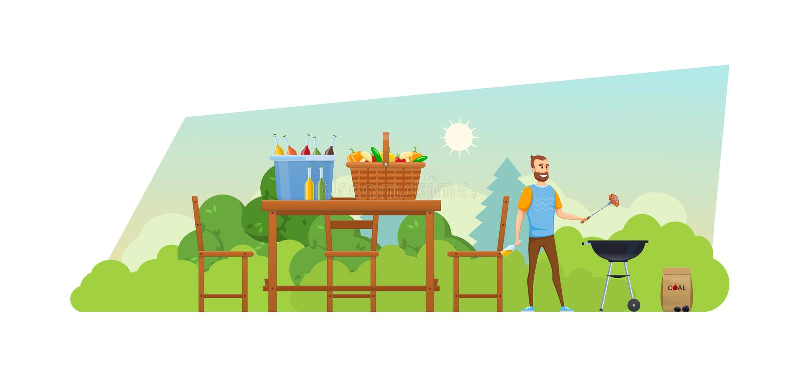 Picknick des Sommers im Freien im Park Mangal mit Grill, Kohlen, Würzen lizenzfreie abbildung