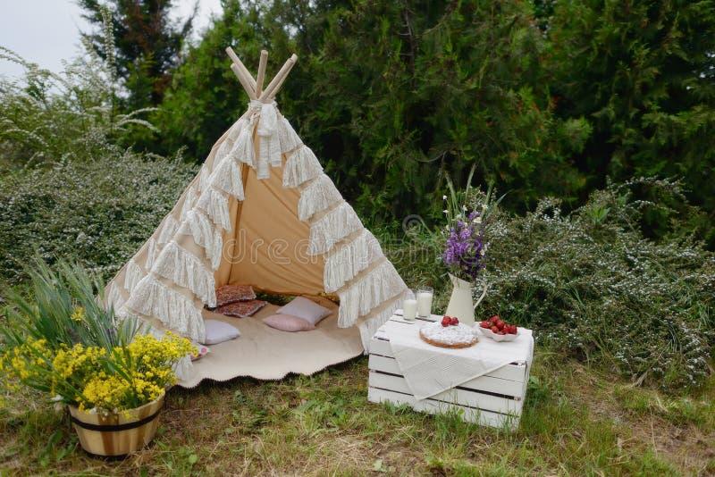Picknick in een tent stock fotografie