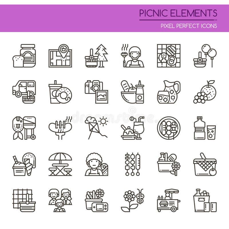 Picknick-Elemente lizenzfreie abbildung