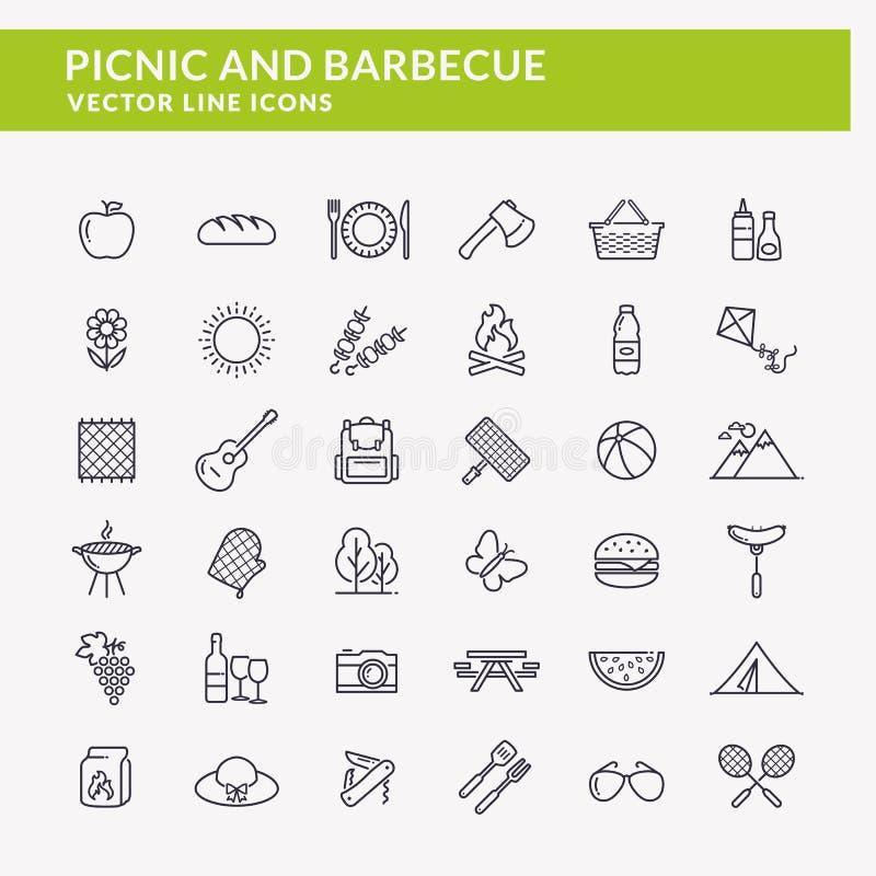 Picknick en barbecuelijnpictogrammen royalty-vrije illustratie