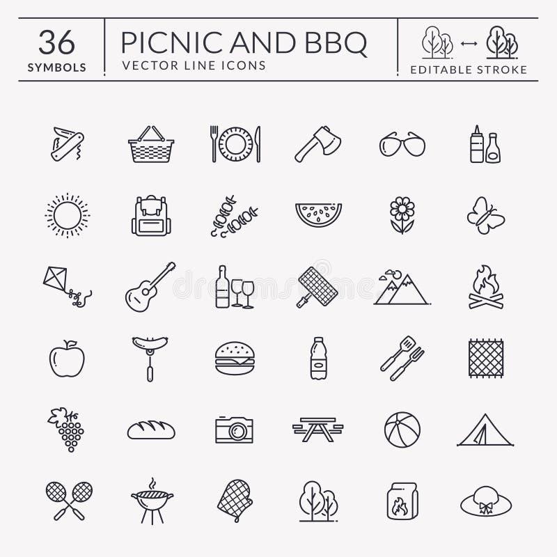 Picknick en barbecueoverzichtspictogrammen Editableslag royalty-vrije illustratie