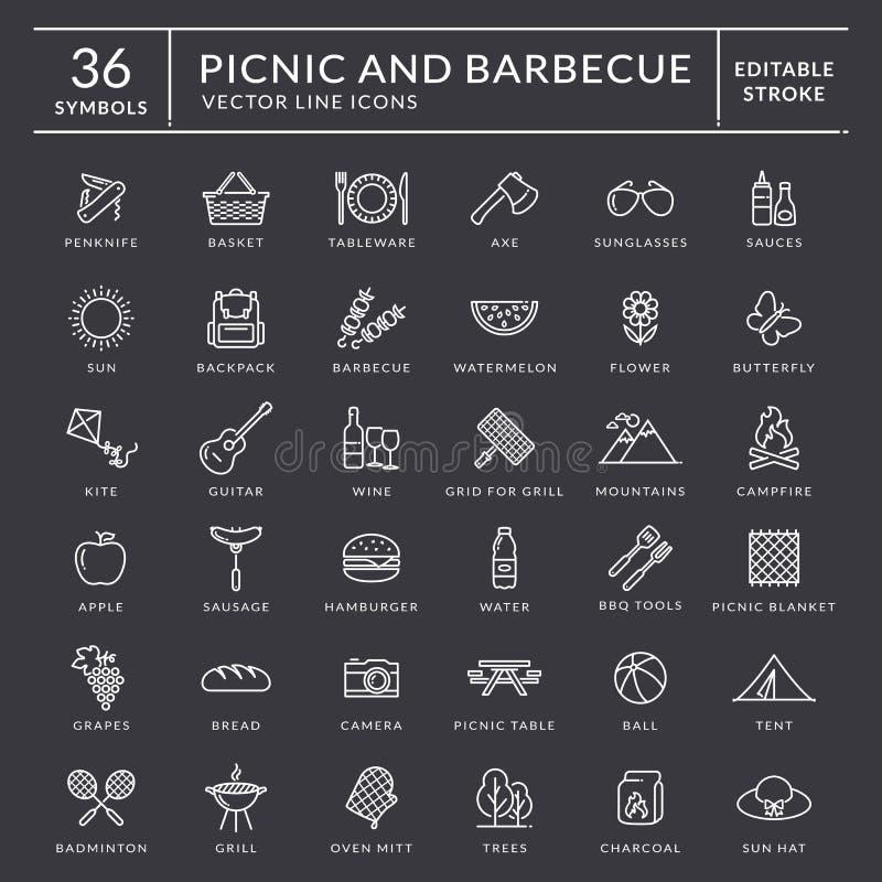 Picknick en barbecueoverzichtspictogrammen Editableslag vector illustratie