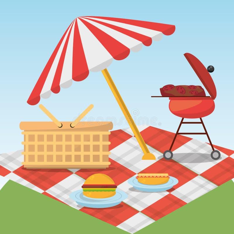 Picknick entspannen sich umfassenden Korb des Regenschirmes und Grilllebensmittel lizenzfreie abbildung