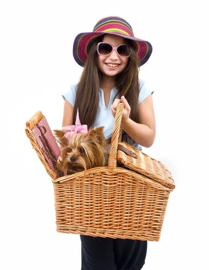 picknick för korghundflicka royaltyfri foto