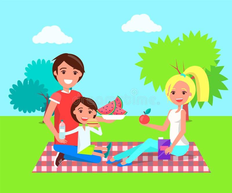 Picknick-Familie in der Sommer-Park-Vektor-Illustration stock abbildung