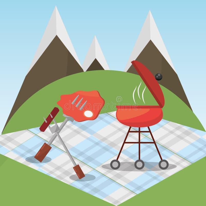 Picknick gegrillte Lebensmitteldeckenberge stock abbildung