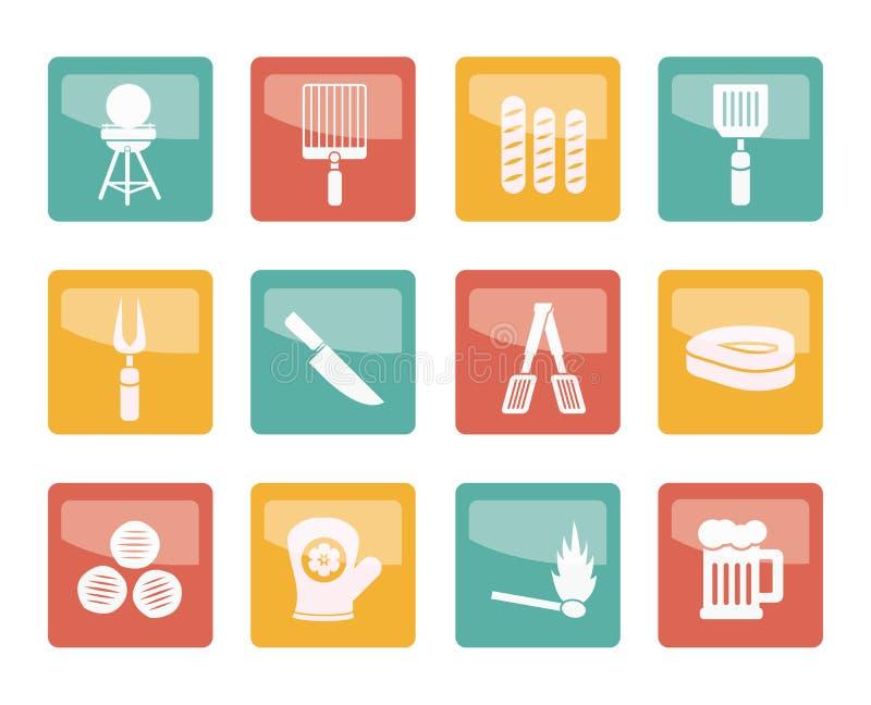 Picknick-, Grill- und Grillikonen über farbigem Hintergrund stock abbildung