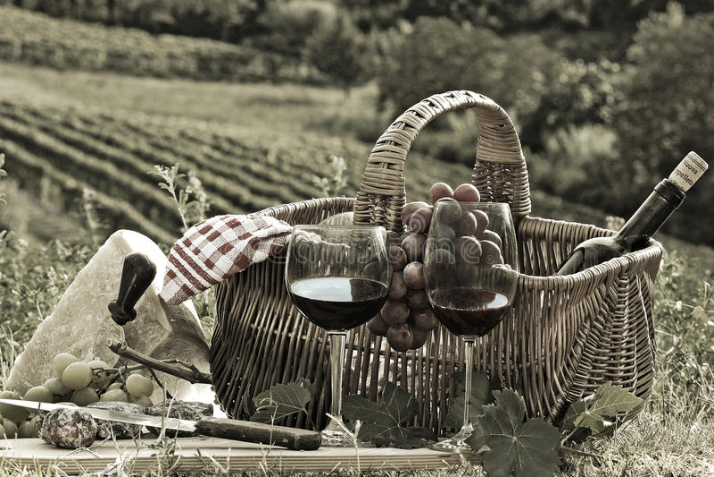 Picknick in het land stock foto