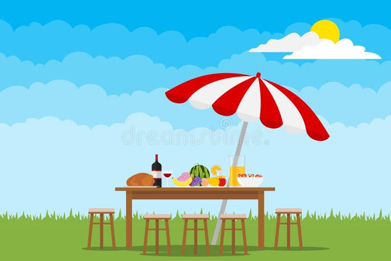 Picknick i natur En tabell med mat och stolar på grönt gräs stock illustrationer