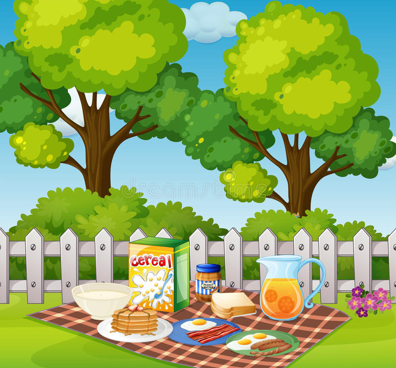 Picknick i trädgård i morgonen vektor illustrationer