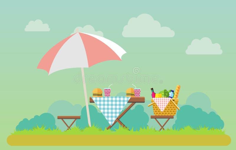 Picknick im Freien in der Parkillustration lizenzfreie abbildung
