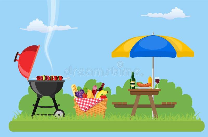 Picknick im Freien im Park stock abbildung