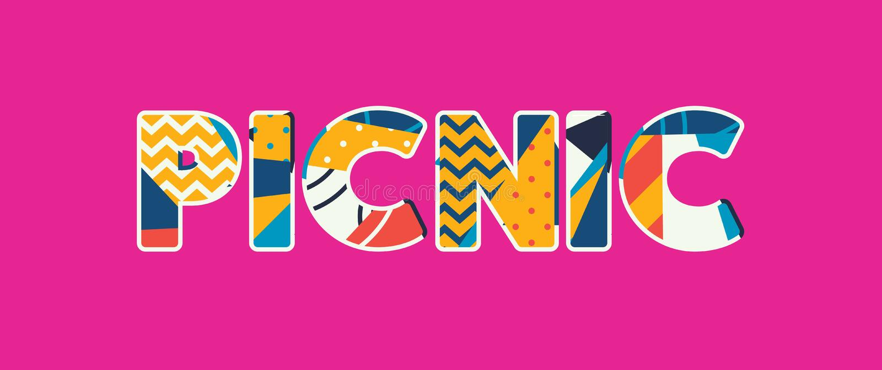 Picknick-Konzept-Wort Art Illustration vektor abbildung
