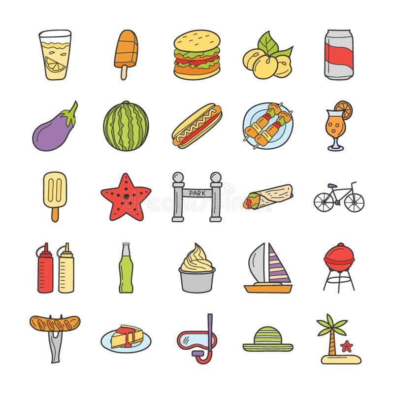 Picknick lopp, feriesymbolsuppsättning royaltyfri illustrationer
