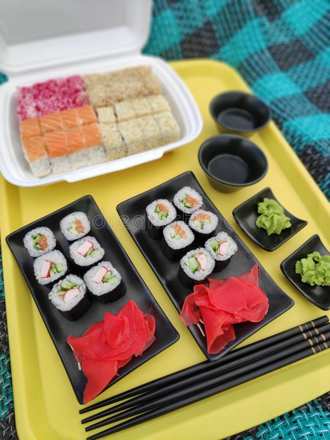Picknick med sushi i natur royaltyfria bilder
