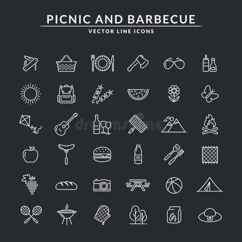 Picknick- och grillfestlinje symboler stock illustrationer