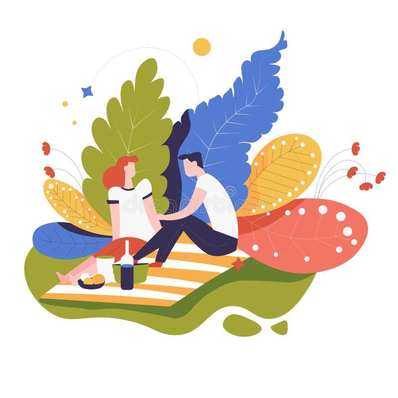 Picknick oder Datum in der Parkpaarnahrung auf umfassendem romantischem Ereignis lizenzfreie abbildung