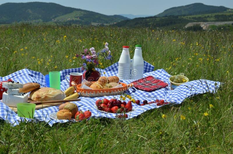 Picknick op Berg royalty-vrije stock afbeeldingen