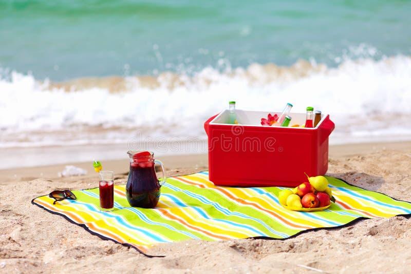 Picknick op het strand royalty-vrije stock afbeeldingen